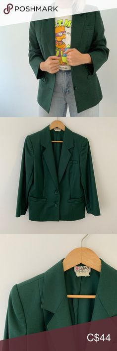 Vintage Wool D'Allairds Blazer wool beauty in rich green! Listed as a size a modern M/L depending on how you like the fit. Vintage D'Allairds, Made in Canada D'Allairds Jackets & Coats Blazers Green Blazer, Colored Blazer, Plus Fashion, Fashion Tips, Fashion Trends, Size 14, Blazers, Jackets For Women, Canada