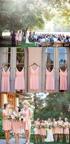 A-LINE BRIDESMAID DRESSES V-NECK CHIFFON SHORT BRIDESMAID DRESSES