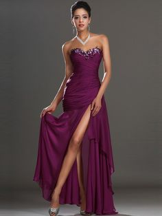 Fancy Trumpet/Mermaid Sleeveless Sweetheart Chiffon Ankle-Length Beading Evening Dress