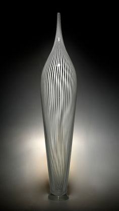 "White Cane Parabola Art-Glass Sculpture 26""H x 6""W x 6""D by David Patchen: available at   artfulhome.com♥♥"
