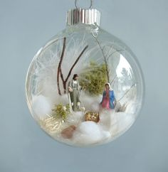 Holy Family Baby Jesus Nativity Winter Scene in glass ornament by TheFittingPiece by sarahx