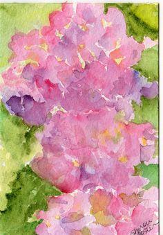 Original pink Hydrangeas  watercolor painting by SharonFosterArt, $18.00