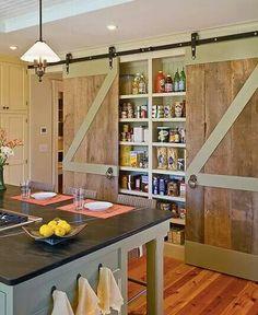 Set pantry/spice rack between studs and hand sliders...hmmm