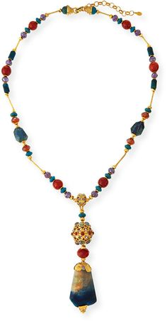Jose & Maria Barrera Long Multi-Stone Pendant Necklace, Blue