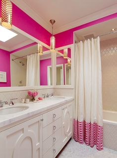 Proof that it only takes 1 vibrant color to create a simply chic look. #fuschia #girlsbathroom #lovethis