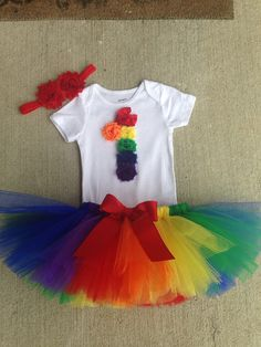 First Birthday Tutu Outfit Rainbow Rosette by SweetCarolinesBtq                                                                                                                                                                                 More