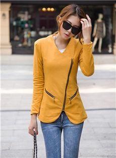 Auspicious Europe Style Slim Zipper Lapel New Arrival Blazer: dressyours.com