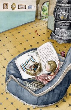 A big comfy chair and a picture book.Such a beautiful way to encourage a love of reading. (Illustration by Irina Dobrescu) Reading Art, Girl Reading, I Love Reading, Children Reading, Reading Room, Blog Da Ju, I Love Books, Books To Read, Reading Habits