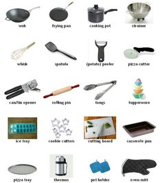 Supplies in the kitchen - English vocabulary Teaching English, English Fun, English Course, English Tips, English Study, English Class, English Words, English Grammar, English Lessons