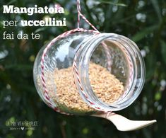 Come creare una mangiatoia per uccellini fai da te riciclando un barattolo di vetro. Mason jar bird feeder