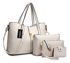 Tibes Fashion Women's PU Leather Handbag+Shoulder Bag+Purse+Card Holder 4pcs Set Tote Black: Handbags: Amazon.com