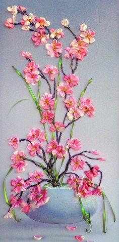 Ricamo Alba con glicine  Silk ribbon embroidery
