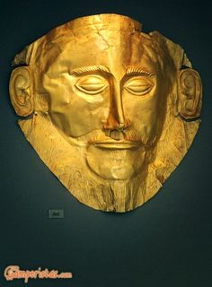 The 'Mask of Agamemnon', discovered by Heinrich Schliemann in 1876 at Mycenae now exhibited at the National Archaeological Museum of Athens. Greek History, Ancient History, Art History, Mycenaean, Minoan, Ancient Greek Art, Ancient Greece, Ancient Troy, Greek Mythology