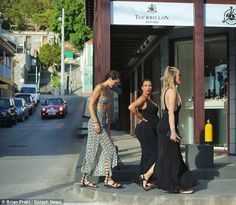 On foot: Kim sensibly decided against riding a dune buggy, instead walking between stores...