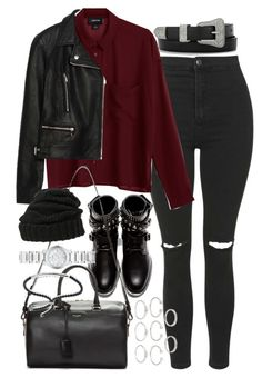 """""""Outfit with a leather jacket for winter"""" by ferned ❤ liked on Polyvore featuring Topshop, Monki, Zara, Yves Saint Laurent, Leith, Forever 21, Burberry and Monica Vinader"""