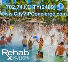 REHAB Las Vegas Saturdays and Sundays. 702.741.CITY(2489) City VIP Concierge for Cabanas, Daybeds, Bungalows, VIP Services and the Best of Any & Everything Fabulous in Las Vegas!!! #RehabLasVegas #SpringBreakVegas #CityVIPConcierge CALL OR CLICK TO BOOK http://www.cityvipconcierge.com/las-vegas-pools-cabanas.html