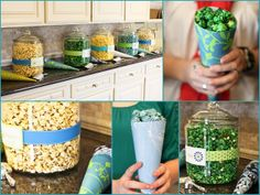 Fancy paper cones in different colors and prints make great popcorn servers!