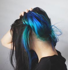 Vibrant blues hidden for day, come out at night with a quick hair up/side bun