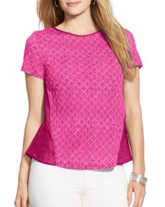 Lauren Ralph Lauren Plus Geometric Print Top