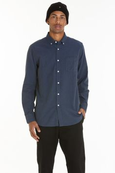 Obey ADAMS WOVEN Heather Navy Slim Fit Chest Pocket Button Down Men/'s Shirt