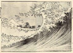 『富嶽百景』   二編9丁より「海上の不二」 砕け散る波頭は千鳥の群れと一体となり遠方の富士の峰へと降りかかる。