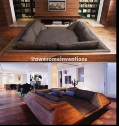 Cool couch - love the library space behind the screen panel also