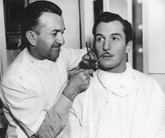 Vincent Price worked with Jack Pierce on his first film, Service de Lux, the one and only time the two worked together. Horror Icons, Horror Films, Vintage Glam, Vintage Hollywood, Sci Fi Movies, Good Movies, Mustache Styles, Vincent Price, Classic Horror Movies