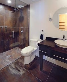 Bathroom tile - Houzz  love the copper sheen tiles.