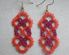 VA Tech Maroon & Orange tatted earrings, tatting jewelry, lace earrings, virginia tech colors, Hokie