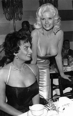 Sophia Loren with Jayne Mansfield at Romanoff's in Beverly Hills, CA, 1958.