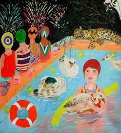 Alejandra Hernandez Naive Art, Art For Art Sake, Painting & Drawing, Crayon Painting, Portraits, Swimmers, Swans, David Hockney, Modernism