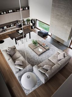 fireplace, living room in double height space