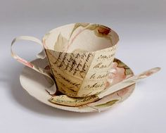 Paper artist Jennifer Collier stitches paper like cloth to construct objects. Paper sculptures and perfect first anniversary gifts. Shop from Jennifer Collier at madebyhandonline Old Paper, Vintage Paper, Paper Paper, Jennifer Collier, Paper Tea Cups, Origami, Paper Engineering, Bone China Tea Cups, Idee Diy