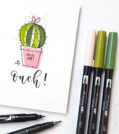 Little bullet journal doodle inspiration by Carla Kamphuis. Cute cactus doodle.