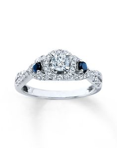 Superb Diamond Sapphire Bridal Engagement Ring ctw Round k White Gold by Kay Jewelers
