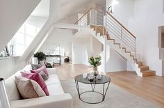 Attic with staircase.