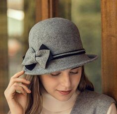 d9609db7c37 Fashion bow cloche hat for women warm winter wool hats