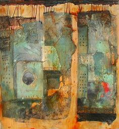 "BlueSkyDreaming Wait Station 2 15""x16"", Rives BFK, tissue paper collage, painted fabric and cardboard, acrylic, clear tar gel, wax thread, graphite, watercolor crayon,"