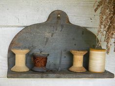 Hanging SPOOL Shelf in Confederate Grey Paint - OLD as Dirt Primitives from Notforgotten Farm via Etsy