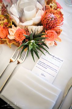 Tropical inspired wedding centerpiece from Sublime Stems for a Seattle wedding