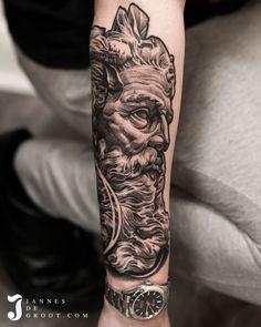 Realistic Poseidon Statue Tattoo - Jannes de Groot Tattoo Poseidon Statue, Statue Tattoo, Photo And Video, Portrait, Tattoos, Instagram, Tatuajes, Headshot Photography, Tattoo