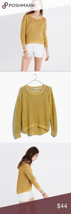 Madewell Northshore Sweater Super cute loose weave brand new sweater in golden color. Great for transitioning to fall or for cool summer nights! It's a size xxs, but runs large, so should fit a normal xs or a small. No trades or modeling. Still full price online. Madewell Sweaters