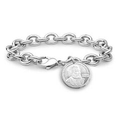 This heart-tag bracelet features rolo links in sterling silver. Dangling near the clasp, a heart-shaped tag can be engraved for a personalized gift. Engraved Bracelet, Engraved Jewelry, Blue Nile Jewelry, Garnet Jewelry, Initial Jewelry, Sterling Silver Charm Bracelet, Heart Jewelry, Jewelry Bracelets, Heart Bracelet