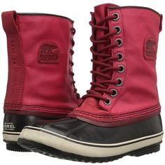 SOREL 1964 Premium CVS (Candy Apple/ Red Element) Women's Waterproof... ($140) ❤ liked on Polyvore featuring shoes, boots, ankle boots, red short boots, red bootie shoes, red shoes, heavy boots and red boots