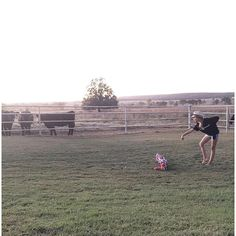 """""""""""Backhand spring, backhand spring, and TUCK! Good Ellie!"""" (I didn't realize the cheerleading lessons on the #farm had been taken to a #wholenuthalevel!) #cheer #bigeyes #channingbenae"""" Photo taken by @cassiebshelton on Instagram, pinned via the InstaPin iOS App! http://www.instapinapp.com (10/12/2015)"""