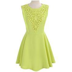 Yellow Stylish Sleeveless Crochet Lace Dress ($26) ❤ liked on Polyvore featuring dresses, yellow, sleeveless lace dress, round neck sleeveless dress, embellished cocktail dress, lacy dress and yellow lace dress