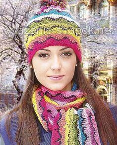 Ажурная вязаная шапка на 2014 год с помпоном, в комплекте с шарфом | ВЯЗАНИЕ ШАПОК: женские шапки спицами и крючком, мужские и детские шапки, вязаные сумки