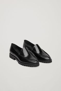f4c66bd9 Front image of Cos ridged-sole leather loafers in black Calf Leather,  Leather Loafers
