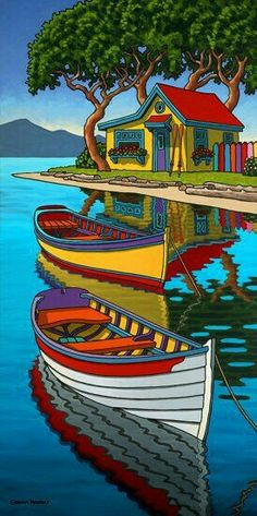 Contemporary Landscape Art of Canadian BC Hornby Island Artist Graham Herbert; Landscape Quilts, Landscape Art, Naive Art, Whimsical Art, Art Techniques, Art Pictures, Watercolor Art, Folk Art, Modern Art