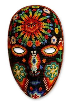 Huichol Folk Art Hand Beaded Mask - Father Sun | NOVICA
